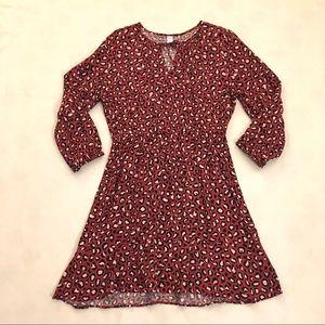 Old Navy rust red/black leopard print dress